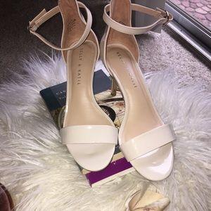 Women's strappy cream heels